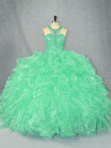 Floor Length Zipper Quinceanera Gown Apple Green for Sweet 16 and Quinceanera with Beading and Ruffles