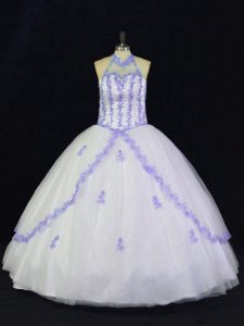 High End Halter Top Sleeveless Tulle Sweet 16 Quinceanera Dress Appliques Lace Up