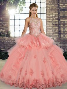 Sleeveless Floor Length Lace and Embroidery and Ruffles Lace Up Quinceanera Dresses with Watermelon Red