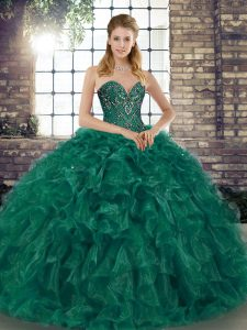 Green Sweetheart Lace Up Beading and Ruffles 15 Quinceanera Dress Sleeveless