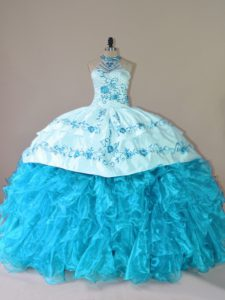 Amazing Aqua Blue Sleeveless Organza Court Train Lace Up Quinceanera Gown for Sweet 16 and Quinceanera