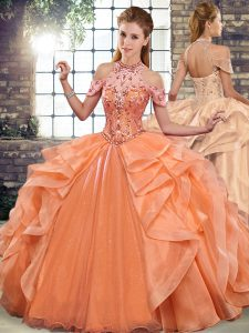 Fantastic Halter Top Sleeveless Organza Vestidos de Quinceanera Beading and Ruffles Lace Up