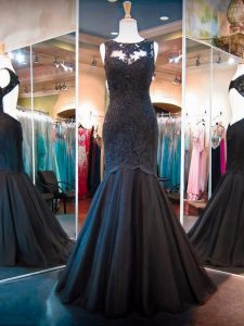 Low Price Floor Length Black Pageant Dress Womens Tulle Sleeveless Lace