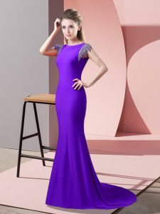 Fancy Lavender Backless High-neck Beading Dress Like A Star Elastic Woven Satin Short Sleeves Brush Train