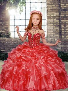 Beading and Ruffles Winning Pageant Gowns Red Lace Up Sleeveless Floor Length