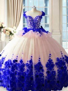High End Blue And White Sleeveless Satin and Organza Brush Train Zipper Sweet 16 Dress for Sweet 16 and Quinceanera