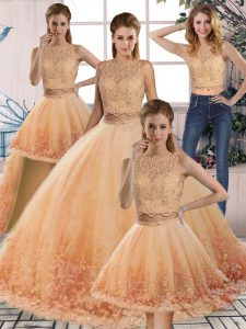 Custom Made Gold and Peach Quince Ball Gowns Scalloped Sleeveless Sweep Train Backless