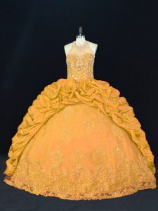 Designer Gold Taffeta Lace Up Quince Ball Gowns Sleeveless Floor Length Appliques