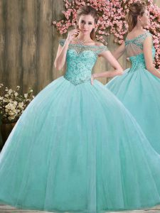 Trendy Blue Sleeveless Tulle Lace Up 15 Quinceanera Dress for Sweet 16 and Quinceanera
