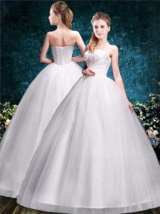Lovely White Ball Gowns Strapless Sleeveless Tulle Floor Length Lace Up Appliques Bridal Gown