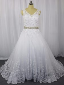 Sleeveless Beading and Lace Zipper Wedding Dresses with White Brush Train