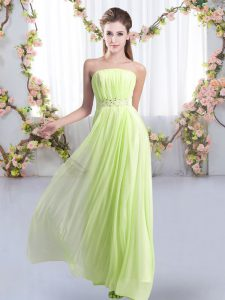 Custom Design Yellow Green Empire Strapless Sleeveless Chiffon Sweep Train Lace Up Beading Quinceanera Court Dresses