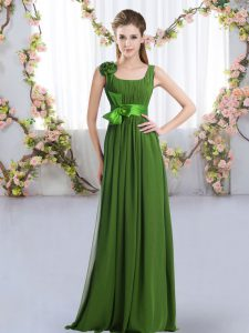 Classical Floor Length Zipper Quinceanera Dama Dress Green for Wedding Party with Belt and Hand Made Flower