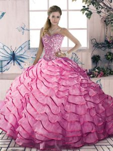 New Arrival Pink 15th Birthday Dress Sweet 16 with Beading and Ruffles Sweetheart Sleeveless Lace Up