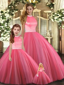 Beading 15th Birthday Dress Coral Red Backless Sleeveless Floor Length