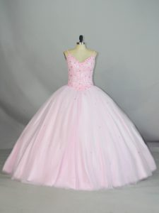 New Style Baby Pink Sleeveless Tulle Lace Up 15th Birthday Dress for Sweet 16 and Quinceanera