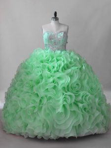 Quince Ball Gowns Sweet 16 and Quinceanera with Beading Sweetheart Sleeveless Brush Train Lace Up