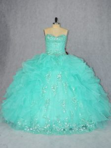 Free and Easy Aqua Blue Organza Lace Up 15th Birthday Dress Sleeveless Floor Length Beading and Appliques