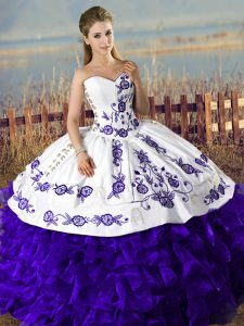 Hot Sale Purple Sweetheart Lace Up Embroidery Sweet 16 Quinceanera Dress Sleeveless