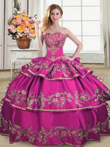 Fuchsia Sweet 16 Dresses Sweet 16 and Quinceanera with Embroidery and Ruffled Layers Sweetheart Sleeveless Lace Up
