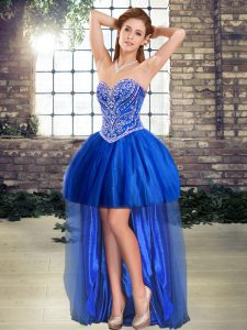 High Low Royal Blue Homecoming Dress Tulle Sleeveless Beading