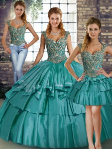Fancy Straps Sleeveless Sweet 16 Dresses Floor Length Beading and Ruffled Layers Teal Taffeta