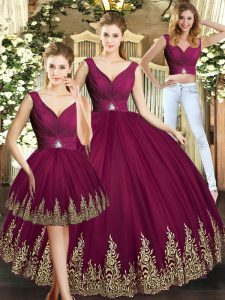 Floor Length Burgundy Sweet 16 Dress Tulle Sleeveless Beading and Appliques