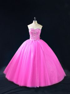 Best Sleeveless Beading Lace Up Quinceanera Dresses