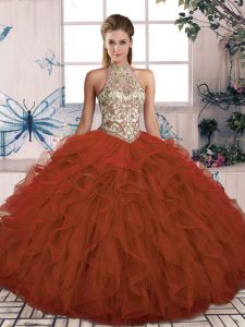 Admirable Rust Red Halter Top Lace Up Beading and Ruffles Quinceanera Gowns Sleeveless