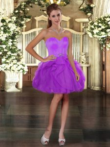 Top Selling Sleeveless Mini Length Ruffles Lace Up Prom Evening Gown with Purple