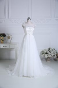 Modest Cap Sleeves Beading and Belt Lace Up Wedding Gown with White Brush Train