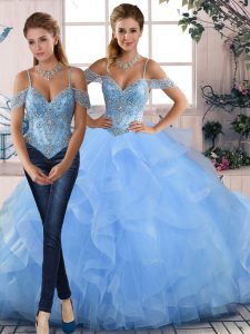 Beautiful Blue Quince Ball Gowns Sweet 16 and Quinceanera with Beading and Ruffles Off The Shoulder Sleeveless Lace Up