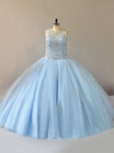 Customized Light Blue Scoop Neckline Beading Quince Ball Gowns Sleeveless Lace Up