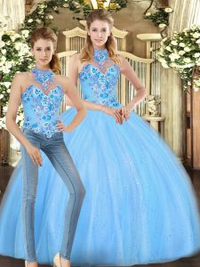 Floor Length Two Pieces Sleeveless Baby Blue Quinceanera Dress Lace Up