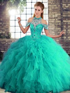Glamorous Turquoise Ball Gowns Halter Top Sleeveless Tulle Floor Length Lace Up Beading and Ruffles Vestidos de Quinceanera