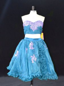 Teal Organza Zipper Sweetheart Sleeveless Mini Length Appliques and Ruffles