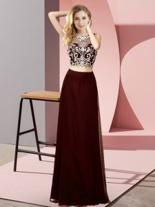 Brown Sleeveless Floor Length Beading Backless Homecoming Dress