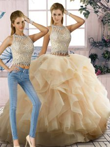 Tulle Scoop Sleeveless Zipper Beading and Ruffles Sweet 16 Dresses in Champagne