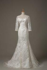 Chic White Wedding Dresses Wedding Party with Lace and Hand Made Flower V-neck 3 4 Length Sleeve Brush Train Lace Up