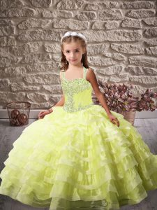 Yellow Green Column/Sheath Beading and Ruffled Layers Pageant Dresses Lace Up Organza Sleeveless
