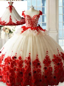 White And Red Zipper Scoop Hand Made Flower Quinceanera Gown Tulle Sleeveless Brush Train