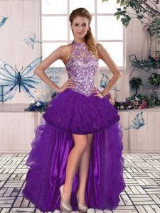 Superior Purple Sleeveless Beading and Ruffles High Low Evening Dress