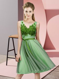 Apple Green Sleeveless Knee Length Appliques Lace Up Bridesmaid Dress