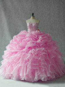 Fitting Baby Pink Sleeveless Brush Train Beading and Ruffles and Pick Ups Sweet 16 Dress
