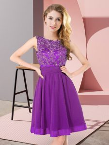 Sleeveless Mini Length Beading and Appliques Backless Court Dresses for Sweet 16 with Purple