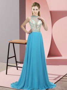 Aqua Blue Sleeveless Chiffon Brush Train Backless Prom Party Dress for Prom and Party