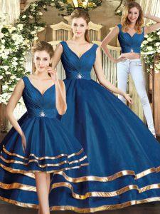 Custom Made Beading and Ruffled Layers Quinceanera Gown Navy Blue Backless Sleeveless Floor Length