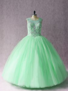 Apple Green Vestidos de Quinceanera Sweet 16 and Quinceanera with Beading Scoop Sleeveless Lace Up