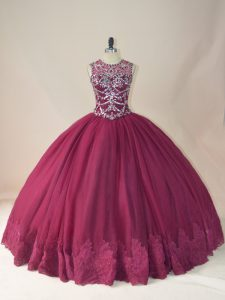 Traditional Burgundy Long Sleeves Floor Length Beading and Appliques Lace Up Quince Ball Gowns