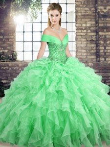 Apple Green Organza Lace Up Off The Shoulder Sleeveless Quinceanera Gown Brush Train Beading and Ruffles